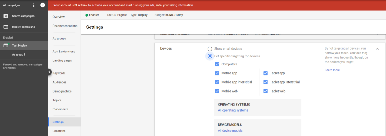 Google Ad Display Network Settings Devices